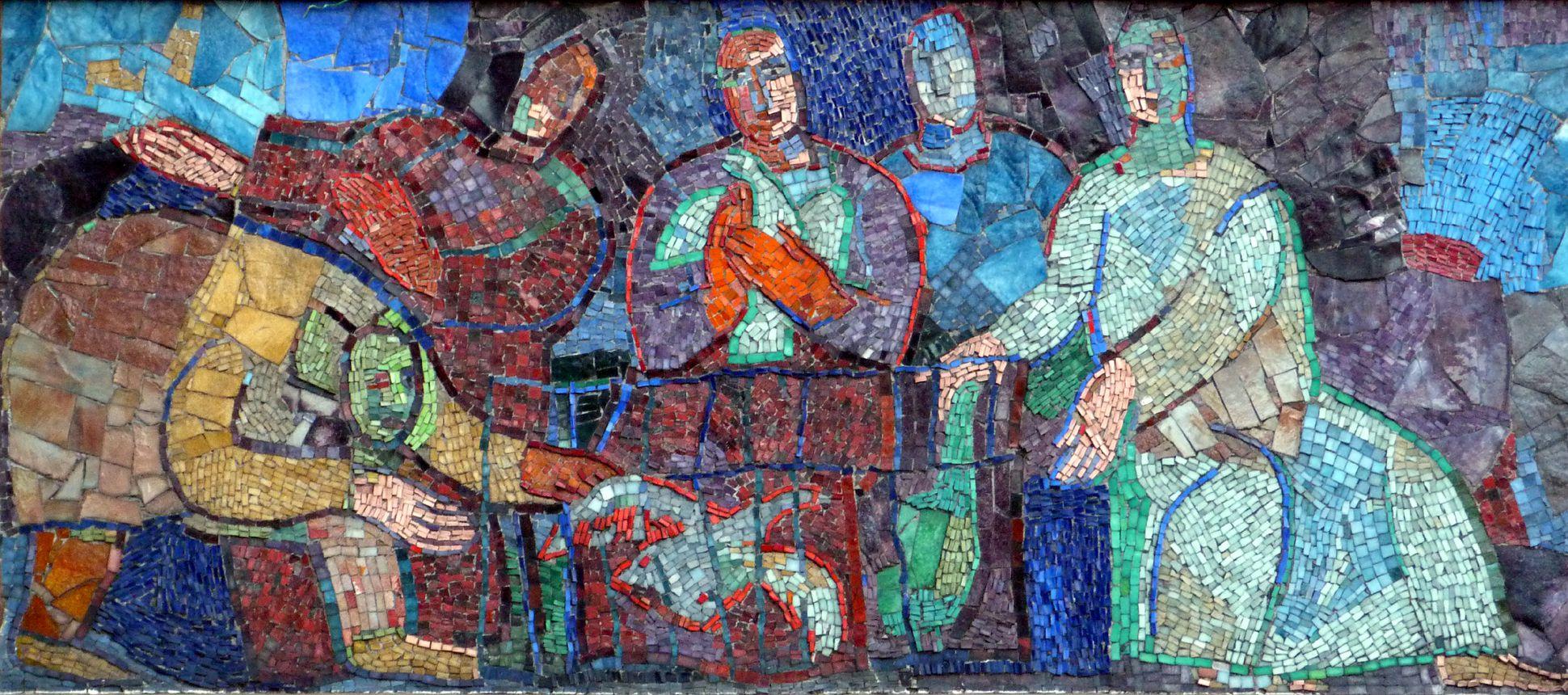"""Mosaik am Hauptmarkt in Nürnberg """"Entflohene Gans kommt in einen Käfig..."""""""