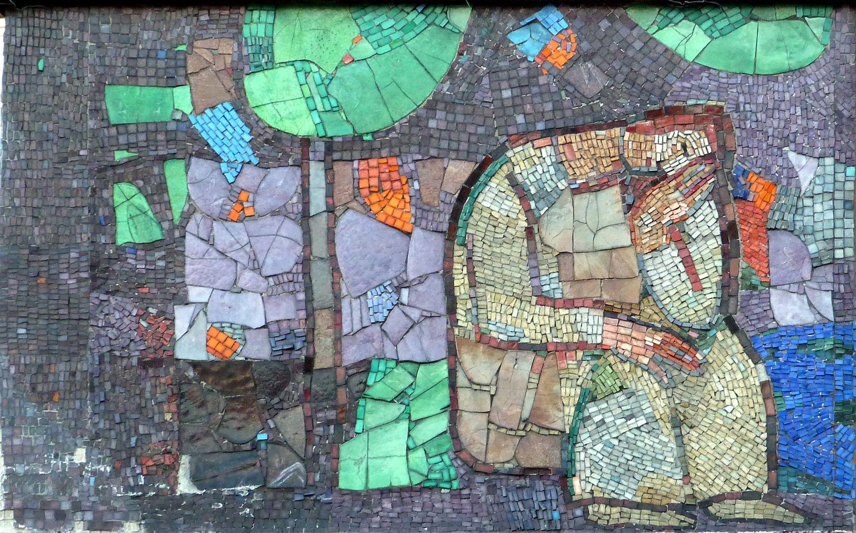 Mosaik am Hauptmarkt in Nürnberg Anfangsszenen des westlichen Mosaikbandes, Rast unter einem Baum