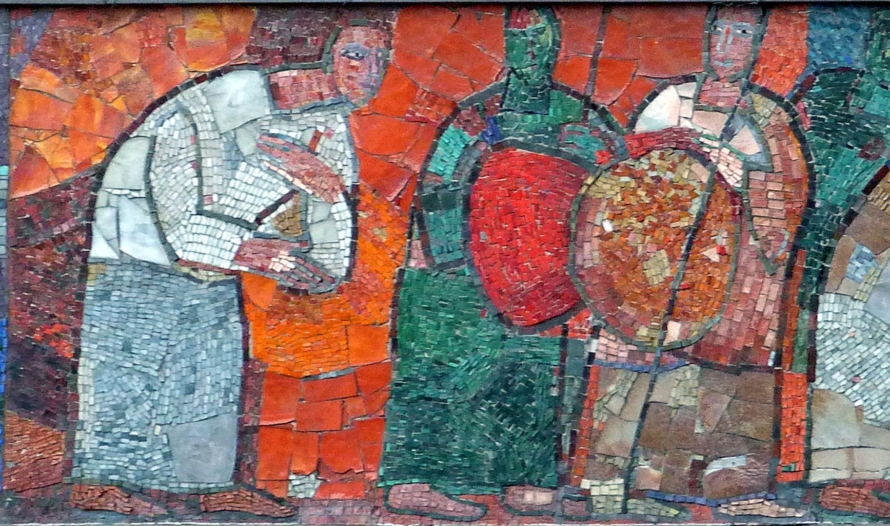 Mosaik am Hauptmarkt in Nürnberg Käufer und Händler