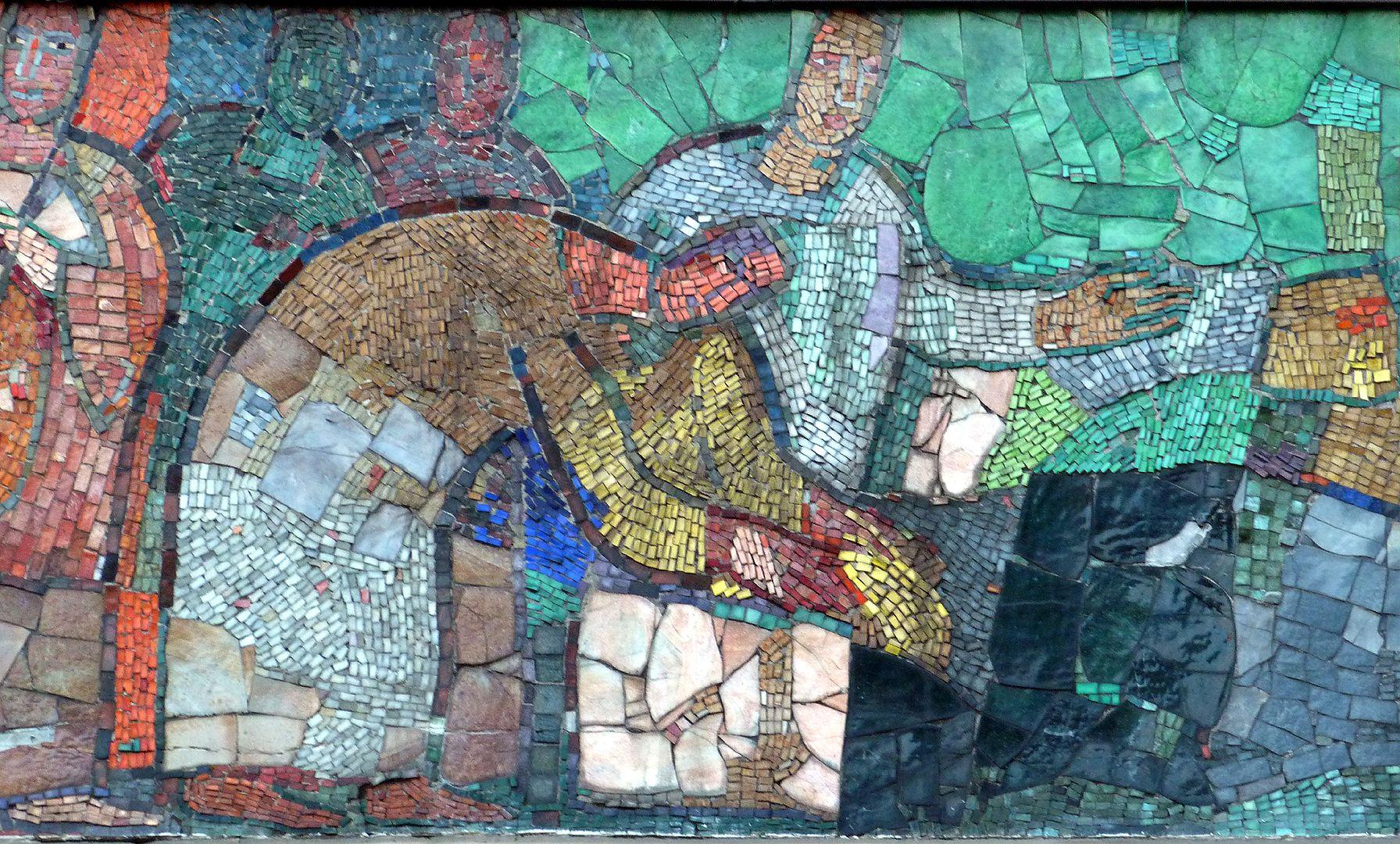Mosaik am Hauptmarkt in Nürnberg Händler