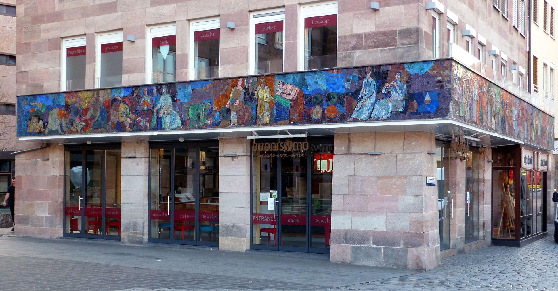 Mosaik am Hauptmarkt in Nürnberg Nordseite