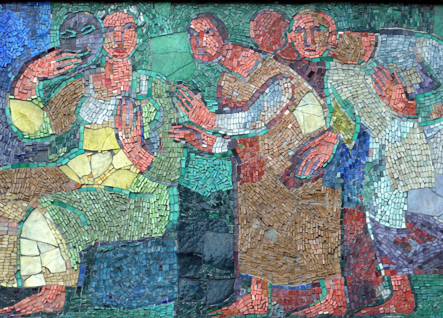 "Mosaik am Hauptmarkt in Nürnberg ""Frau mit Maske"""