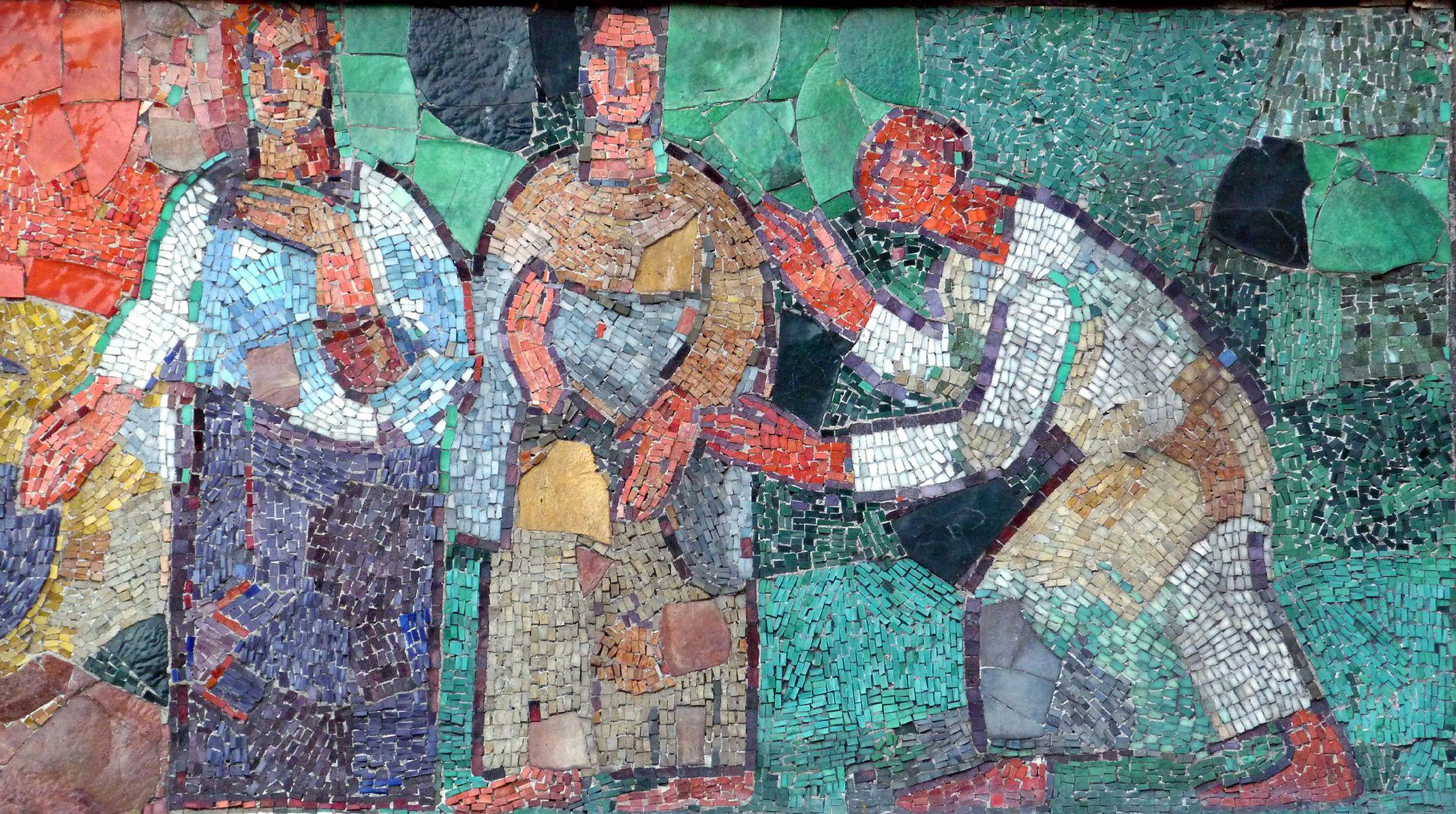 Mosaik am Hauptmarkt in Nürnberg Abschlussszene des westlichen Mosaikbandes