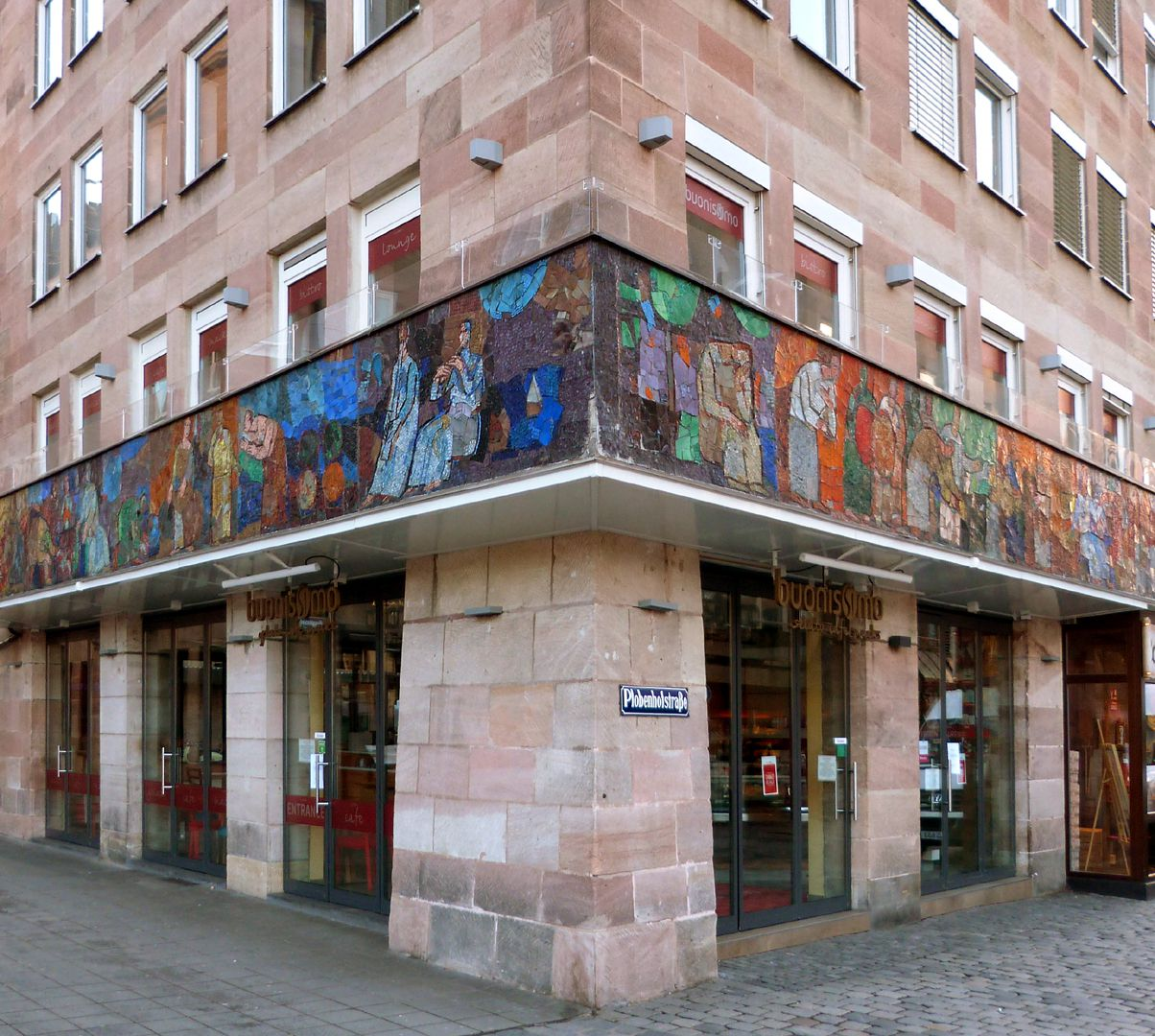 Mosaik am Hauptmarkt in Nürnberg Eckansicht