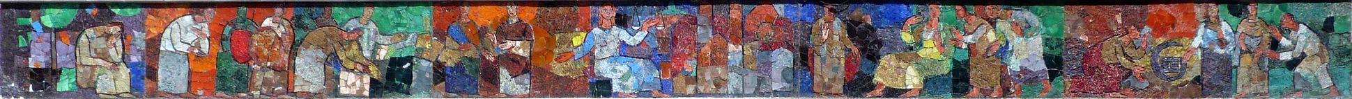 Mosaik am Hauptmarkt in Nürnberg Mosaikband der Westseite