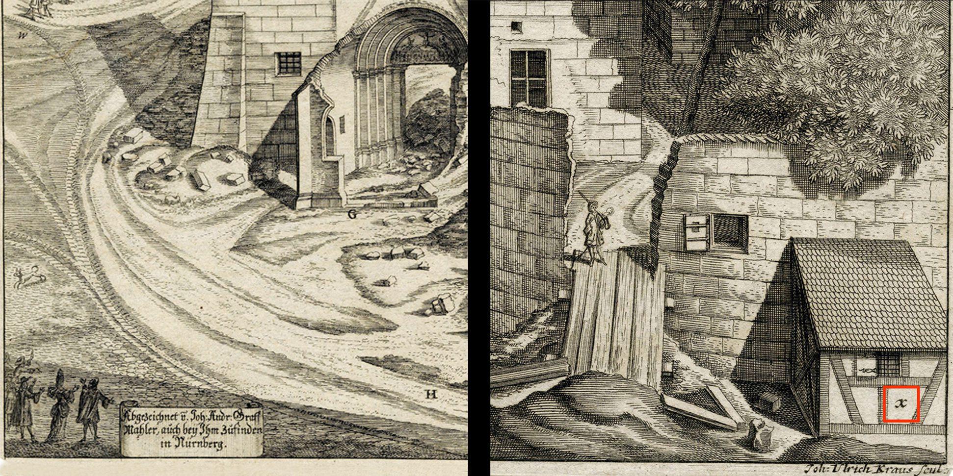 """""""Urbis Norimbergensis Insigniorum Templorum …"""" Ruine der Egidienkirche linke und rechte untere Bildecke"""