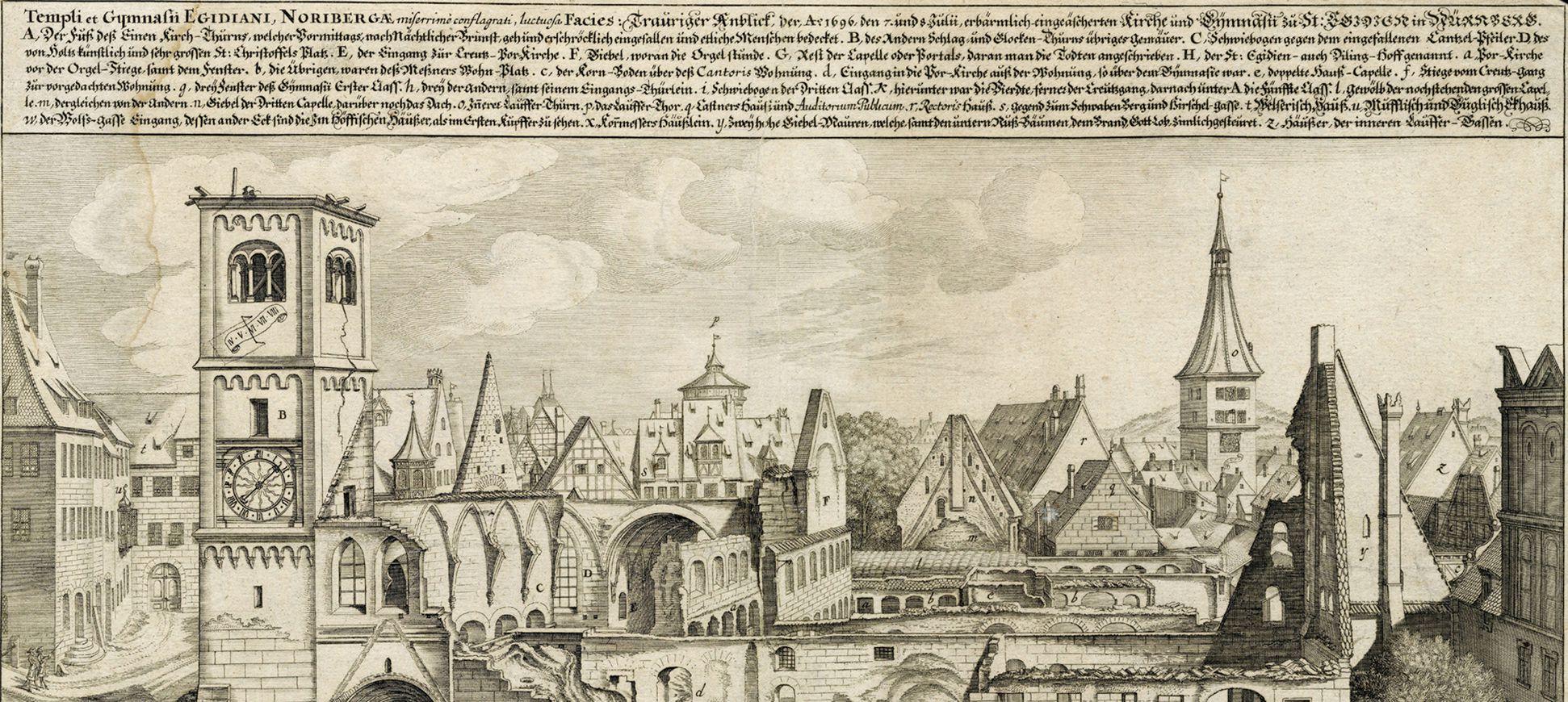 """""""Urbis Norimbergensis Insigniorum Templorum …"""" Ruine der Egidienkirche obere Blatthälfte"""