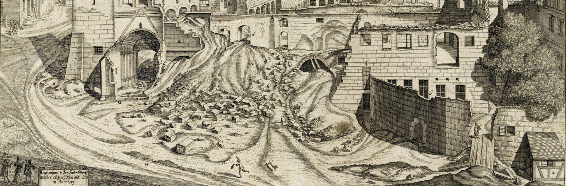 """""""Urbis Norimbergensis Insigniorum Templorum …"""" Ruine der Egidienkirche untere Blatthälfte"""