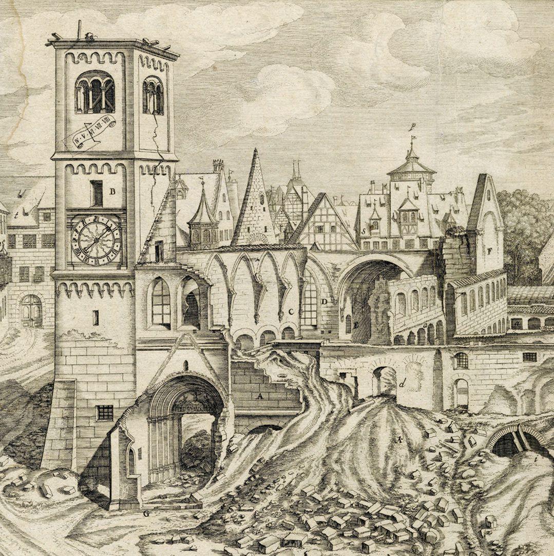 """""""Urbis Norimbergensis Insigniorum Templorum …"""" Ruine der Egidienkirche linke Blatthälfte, Ausschnitt"""