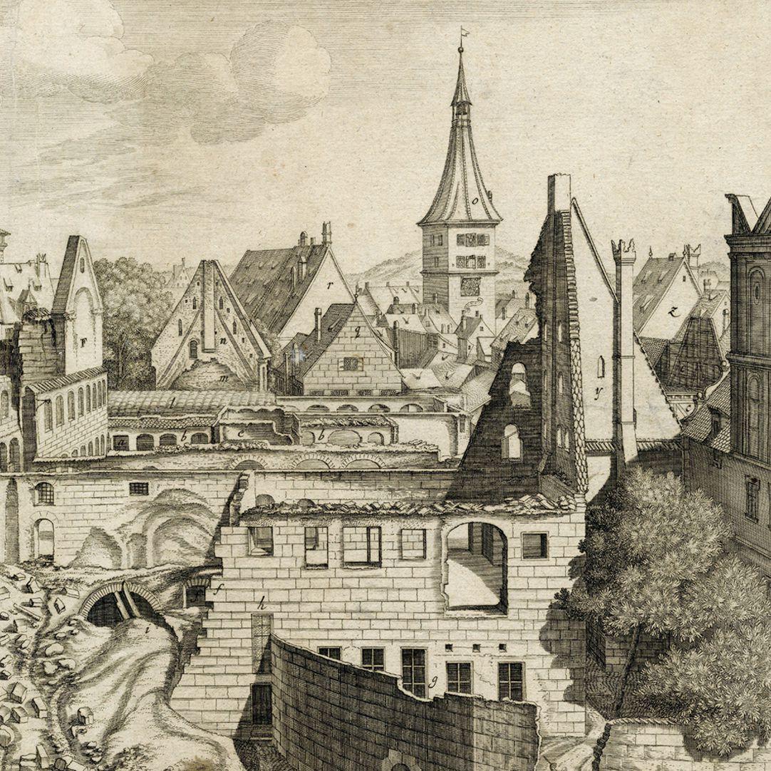 """""""Urbis Norimbergensis Insigniorum Templorum …"""" Ruine der Egidienkirche rechte Blatthälfte, Ausschnitt"""