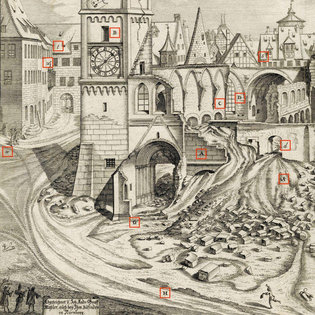 """""""Urbis Norimbergensis Insigniorum Templorum …"""" Ruine der Egidienkirche linke Blatthälfte, Ausschnitt mit Markierungen"""