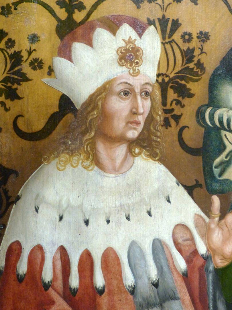 Münnerstädter Retabelflügel Kilian ermahnt das Herzogspaar. Detail mit Frankenherzog Gozbert. (Der Herzog sieht wie ein polnischer König aus).