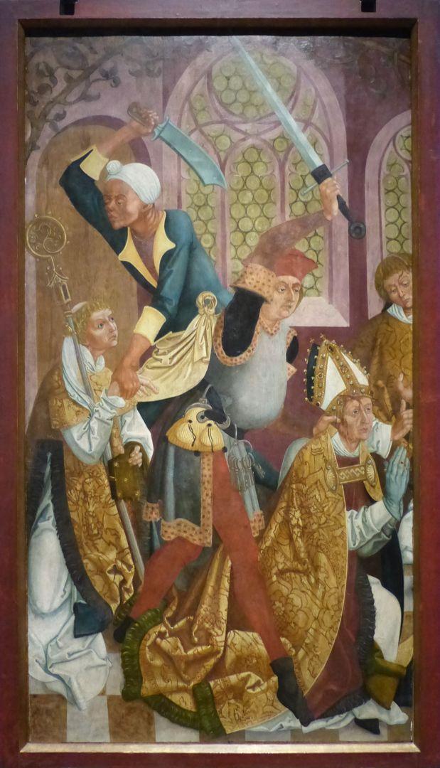 Münnerstädter Retabelflügel Die Ermordung des heiligen Kilians und seiner Gefährten.