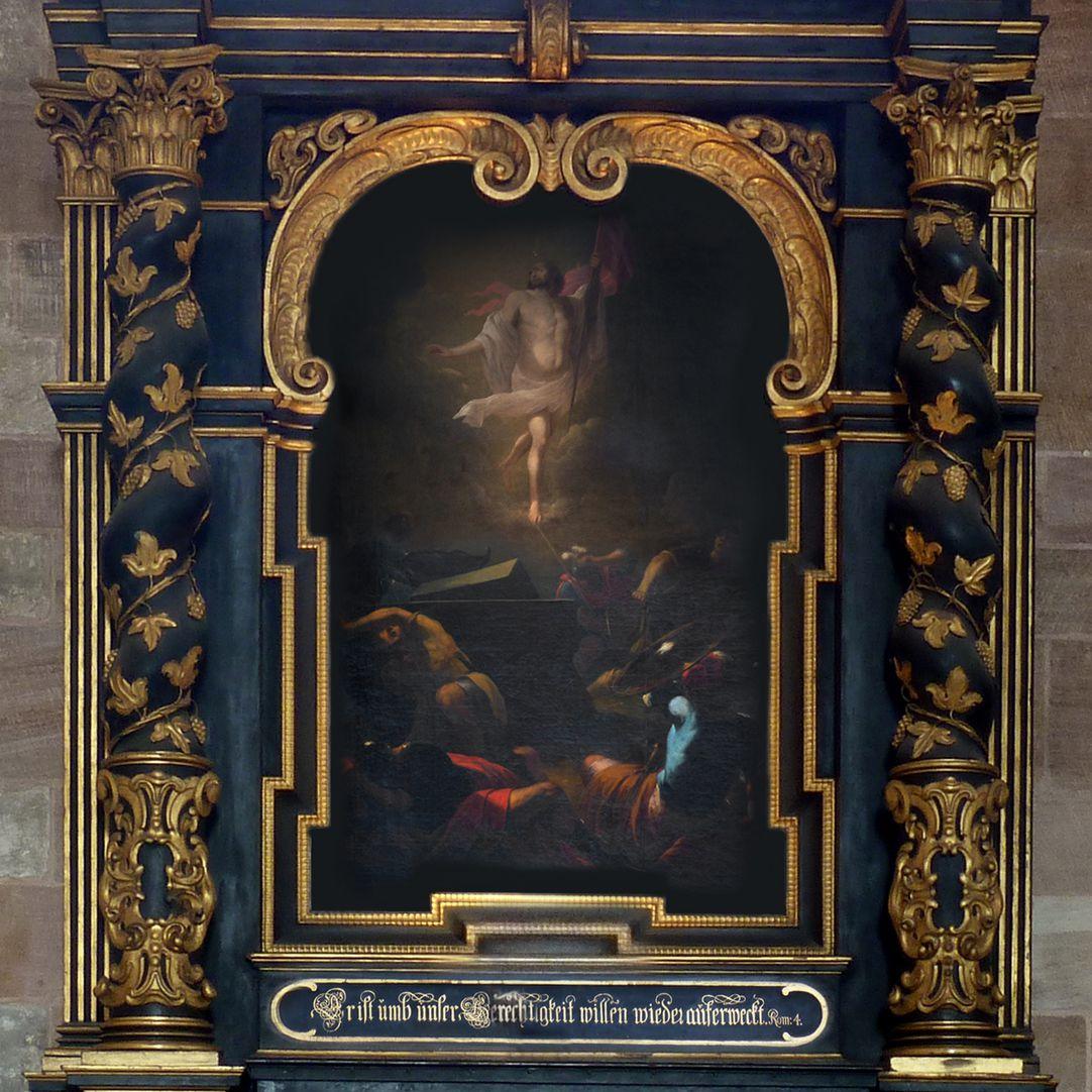 Muffel-Altar Hauptkörper mit salomonischen Säulen und Gemälde der Auferstehung Christi