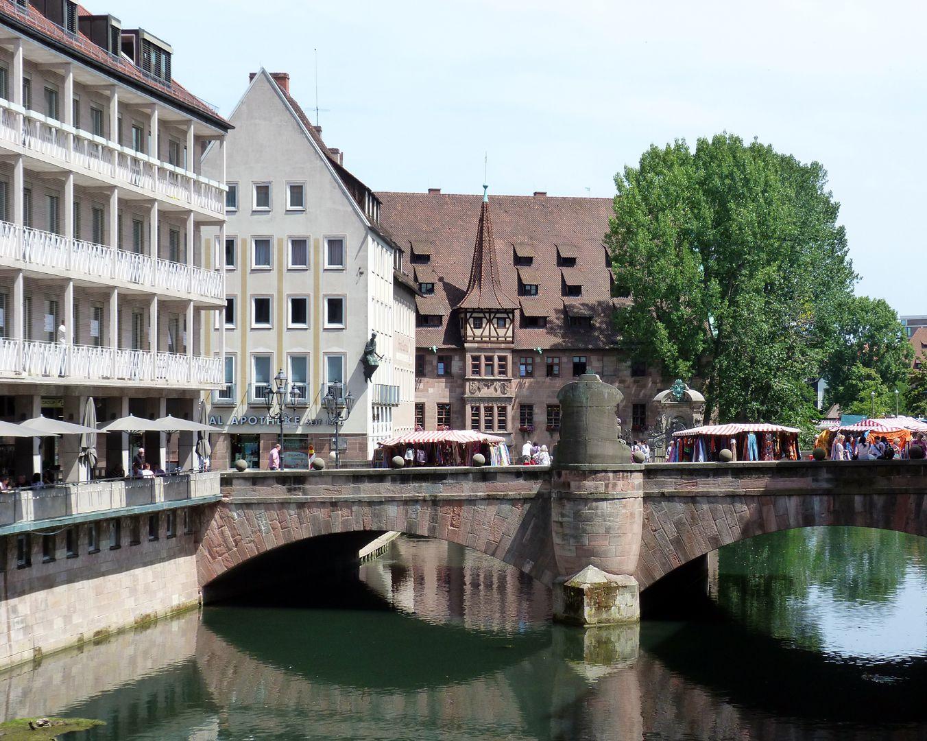 Kanzeln der Museumsbrücke mit Inschriften Museumsbrücke von Westen, Ortsansicht