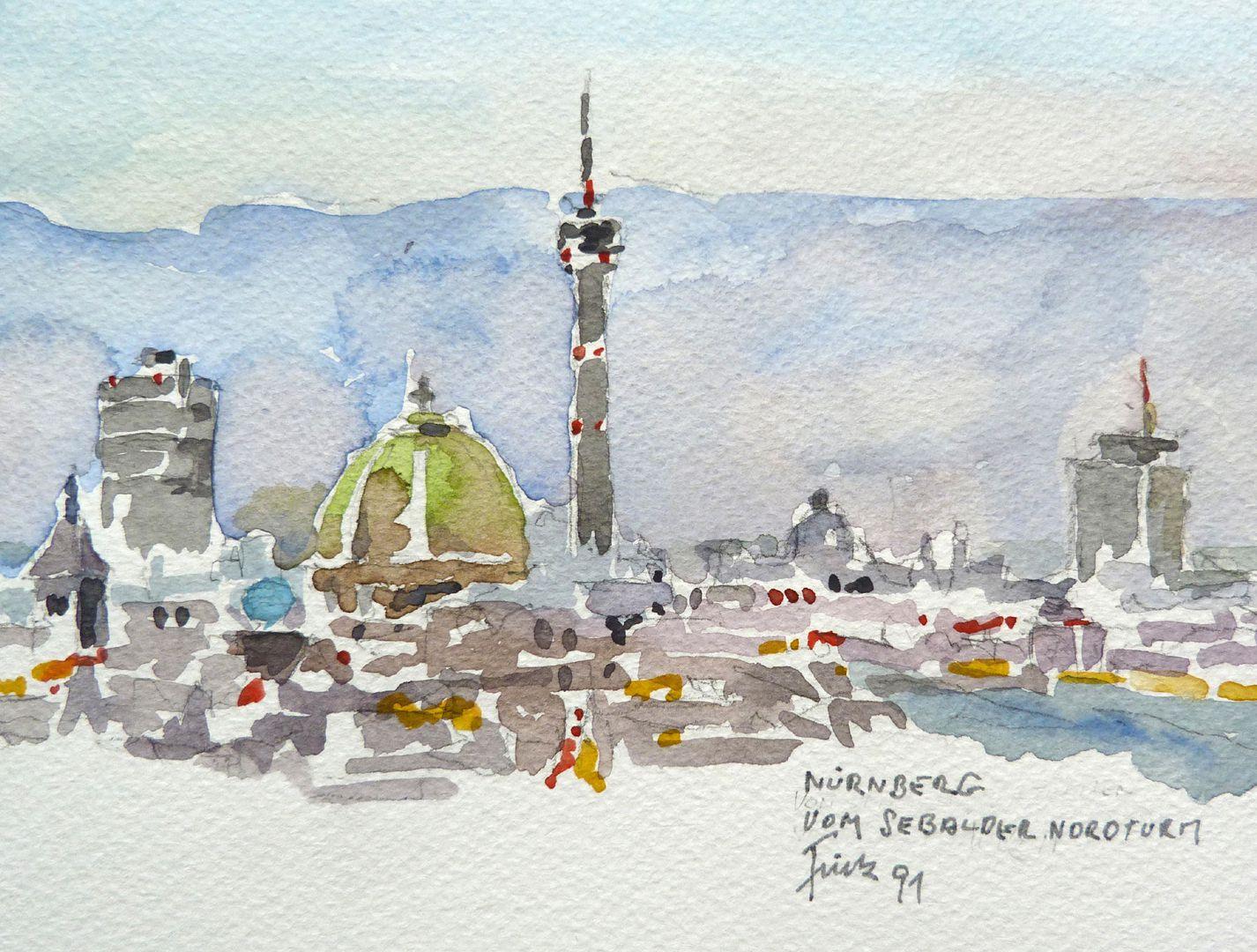 Nürnberg vom Sebalder Nordturm Bildausschnitt: Blick über die Stadt mit Weißen Turm, Gasometer, Elisabethkirche, Fernsehturm und Plärrerhochhaus