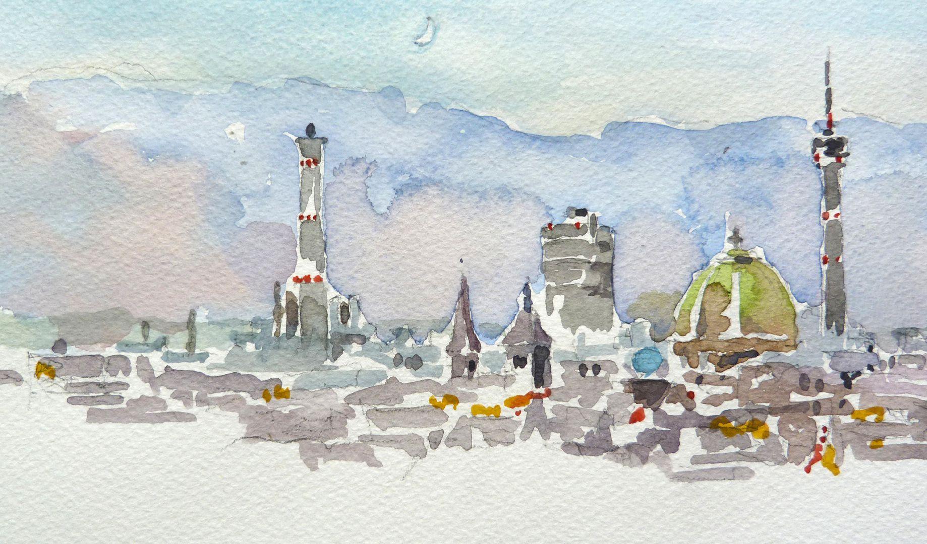 Nürnberg vom Sebalder Nordturm Bildausschnitt: Blick über die Stadt mit Stadtwerken, St. Jakob, Weißer Turm, Gasometer, Elisabethkirche und Fernsehturm