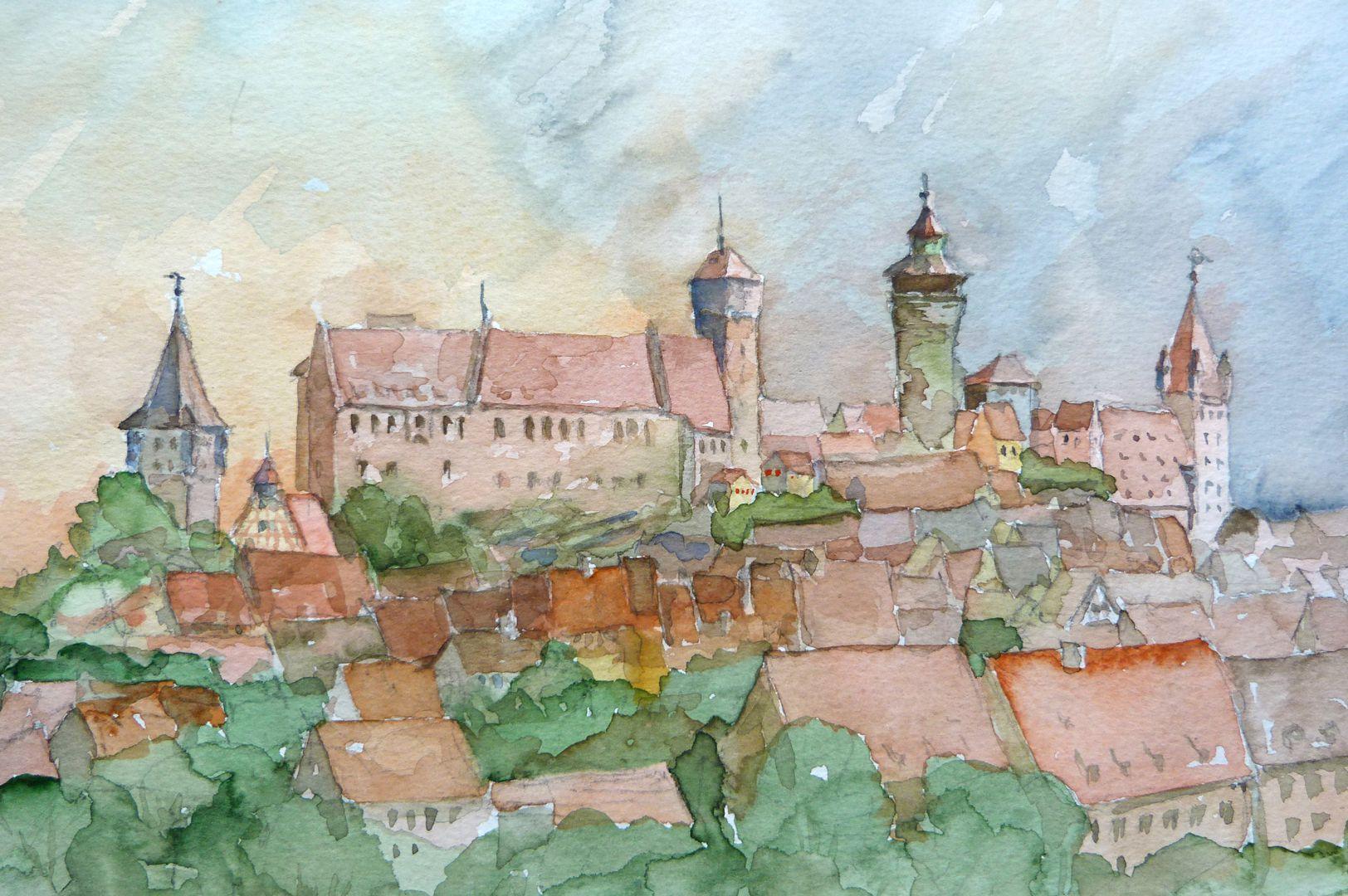 Nürnberg von der Kreuzgasse Bildausschnitt mit Tiergärtnertorturm, Burg und Luginsland