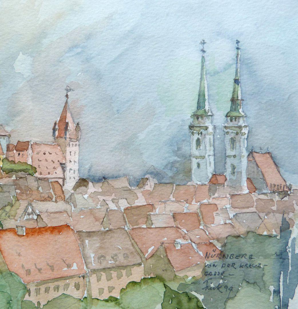 Nürnberg von der Kreuzgasse Bildausschnitt mit Luginsland und St. Sebald