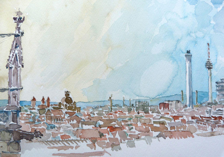 Nürnberg vom Nordturm St. Lorenz Bildauschnitt: Blick über die Stadt mit den Türmen von St. Ludwig, Opernhaus, Stadtwerken und Fernsehturm