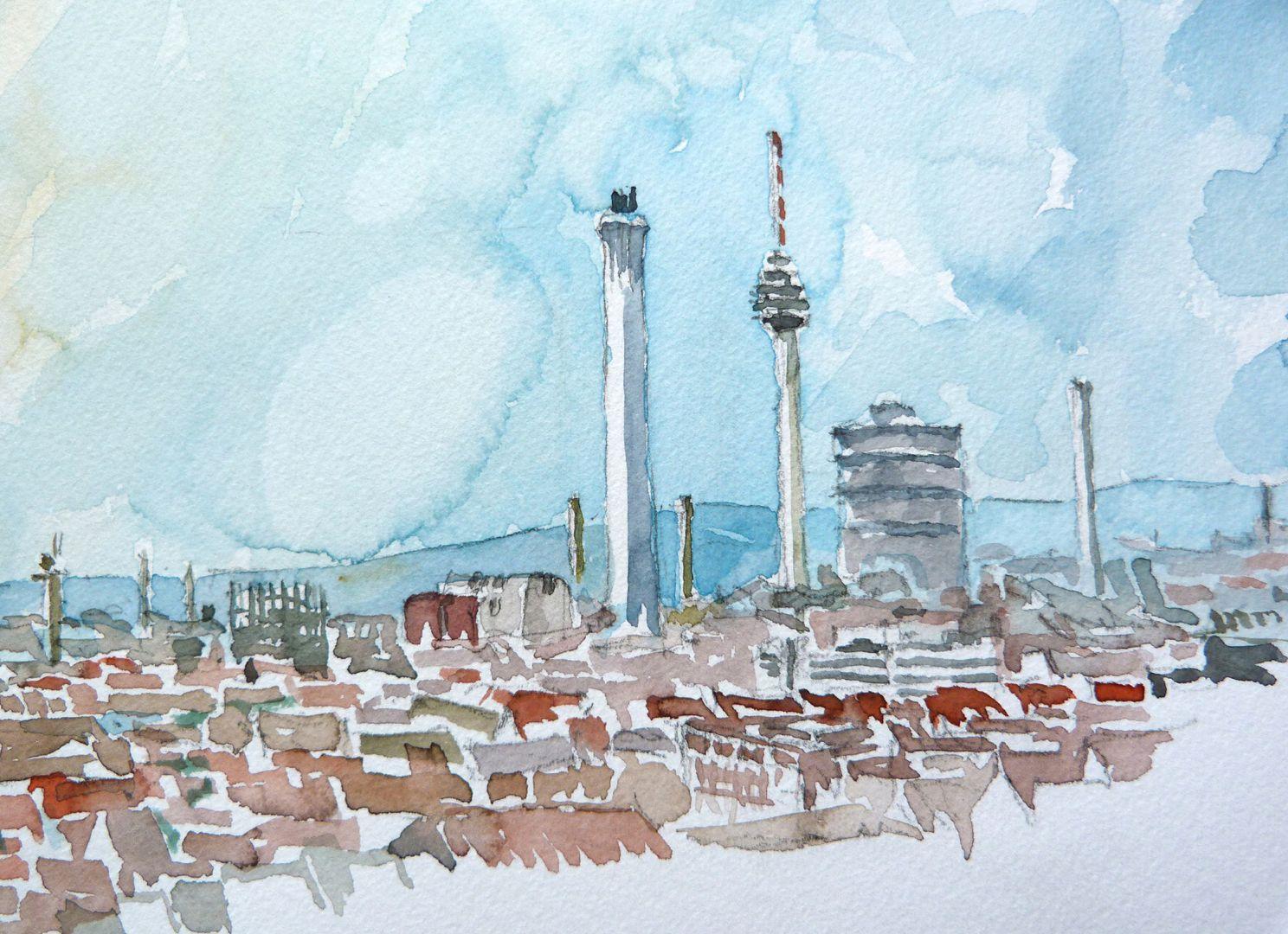 Nürnberg vom Nordturm St. Lorenz Bildausschnitt: Blick über die Stadt mit den Stadtwerken und Fernsehturm