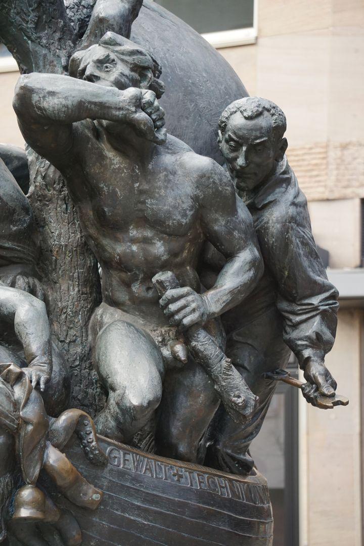 Narrenschiff Darstellung der Gewalt: Mann mit Keule