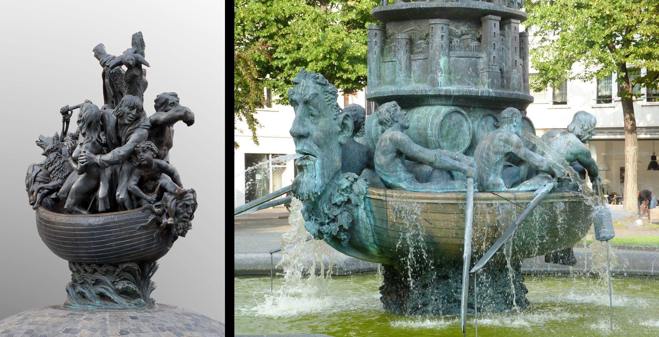 Narrenschiff ursprünglich war das Narrenschiff als ein Brunnen entworfen / siehe zum Vergleich die Historiensäule in Koblenz