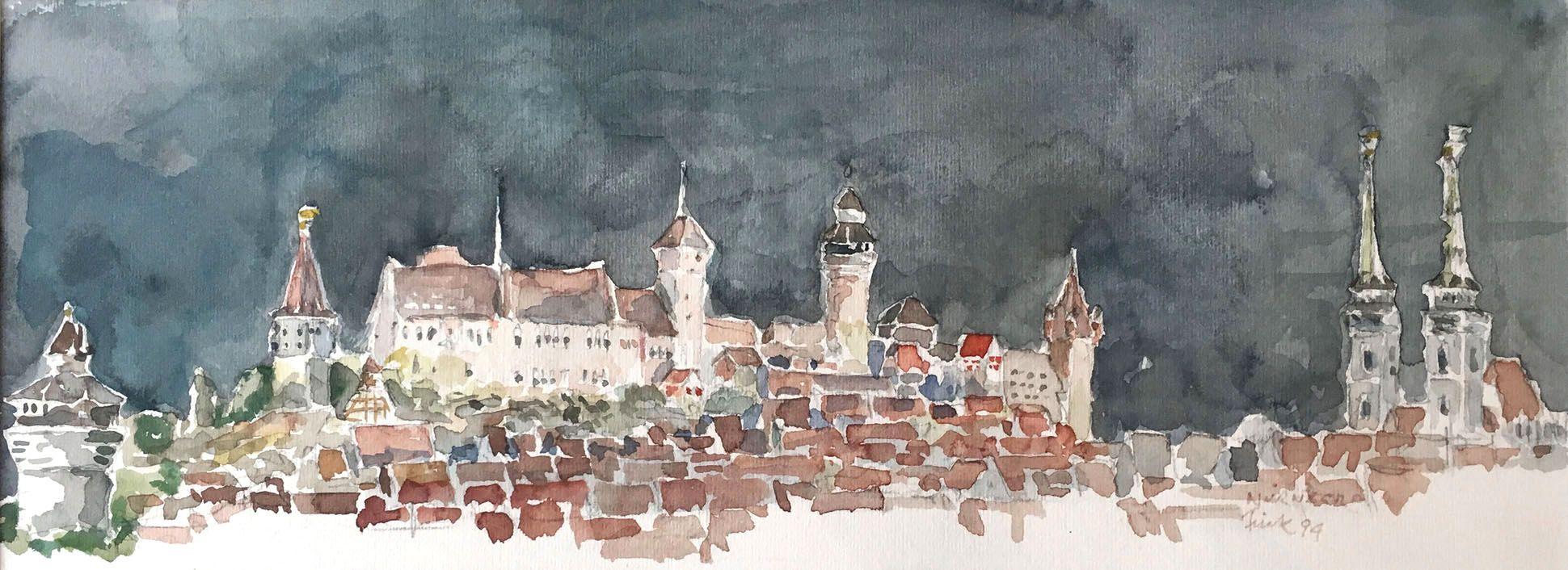 Nürnberg bei Nacht Stadtsilhouette vom Neutorturm bis zur Sebalduskirche