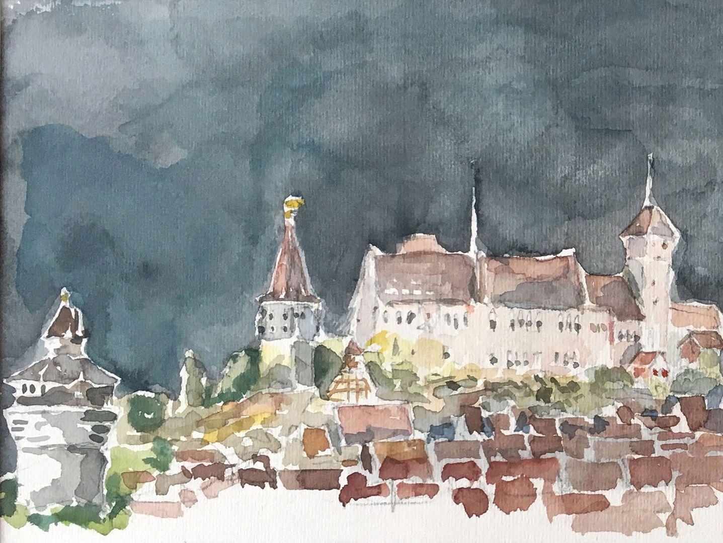 Nürnberg bei Nacht Bildausschnitt: Blick über die Stadt mit Neutorturm, Tiergärtnertorturm und Palas