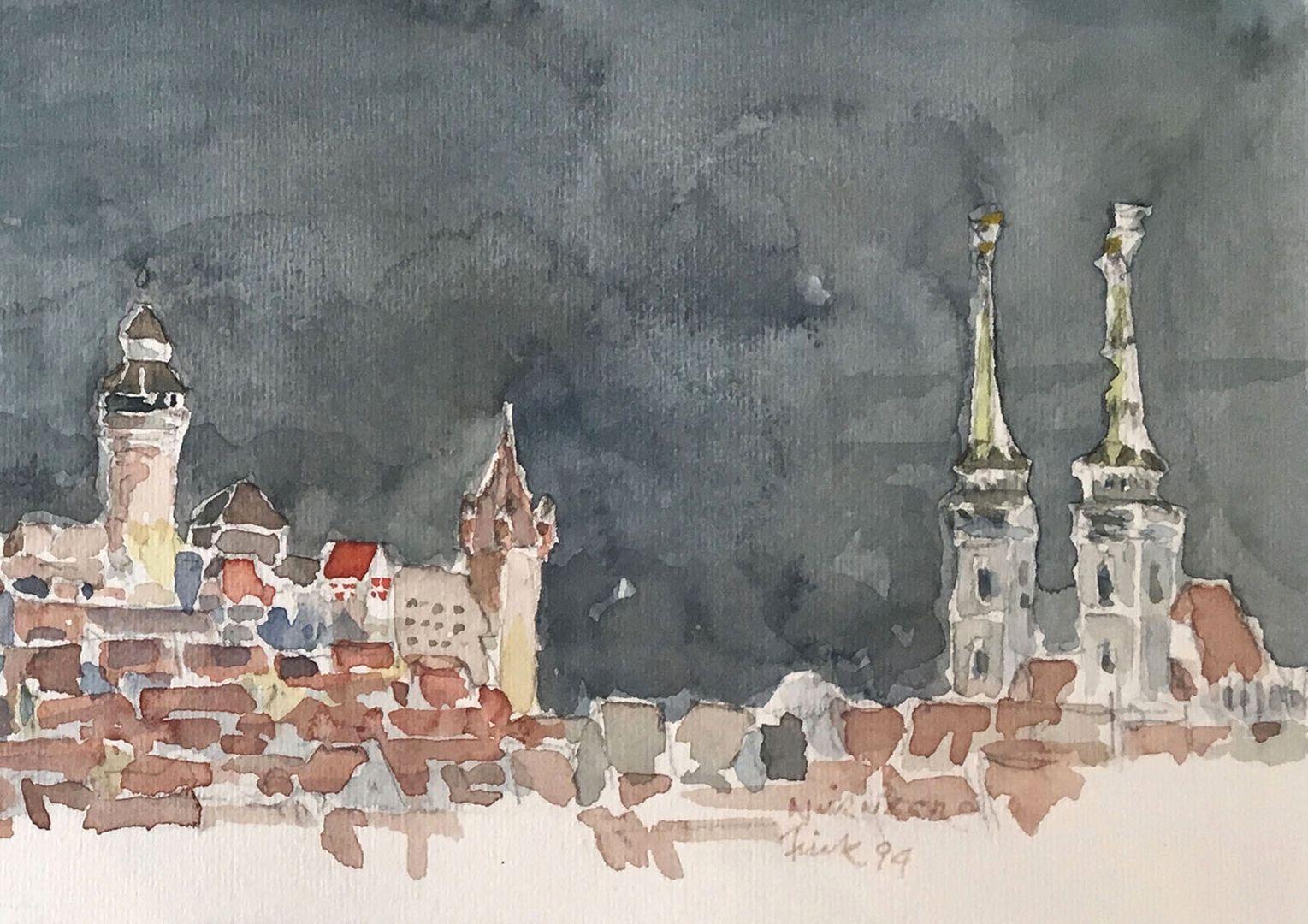Nürnberg bei Nacht Bildausschnitt: Blick über die Stadt mit Sinwellturm, Walburgiskapelle, Luginsland und St. Sebald