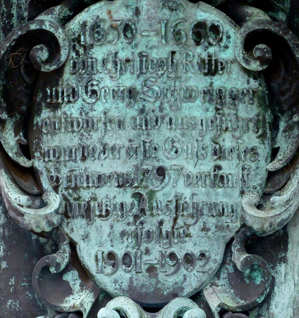 Neptunbrunnen Inschrift an der Westseite