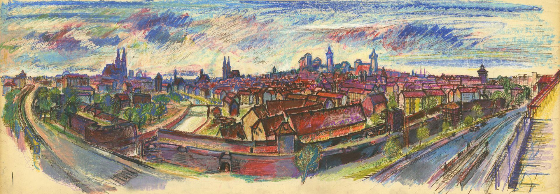 Panoramablick vom Laufertorgraben auf die Nürnberger Altstadt Gesamtansicht