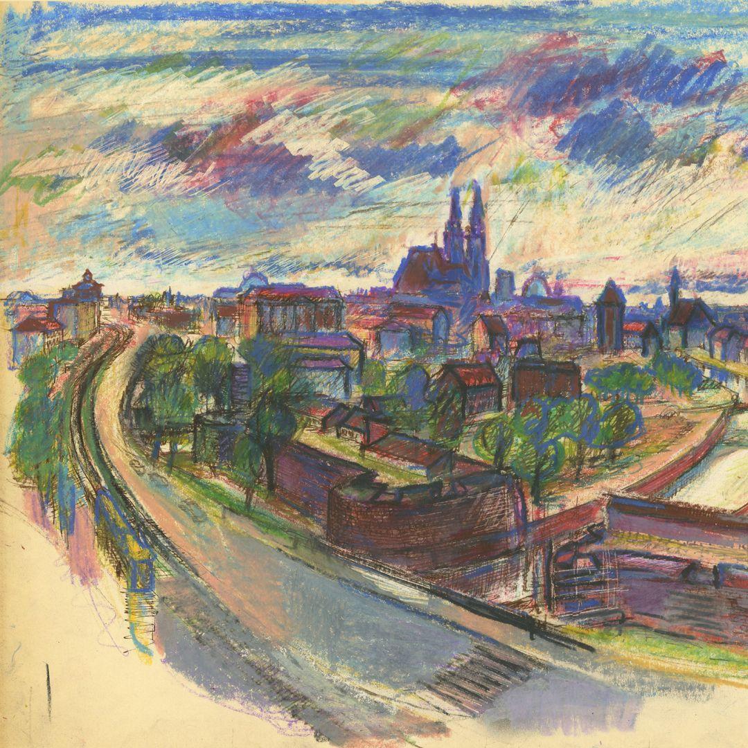 Panoramablick vom Laufertorgraben auf die Nürnberger Altstadt Detailansicht mit Pegnitzeinfluss und Lorenzkirche