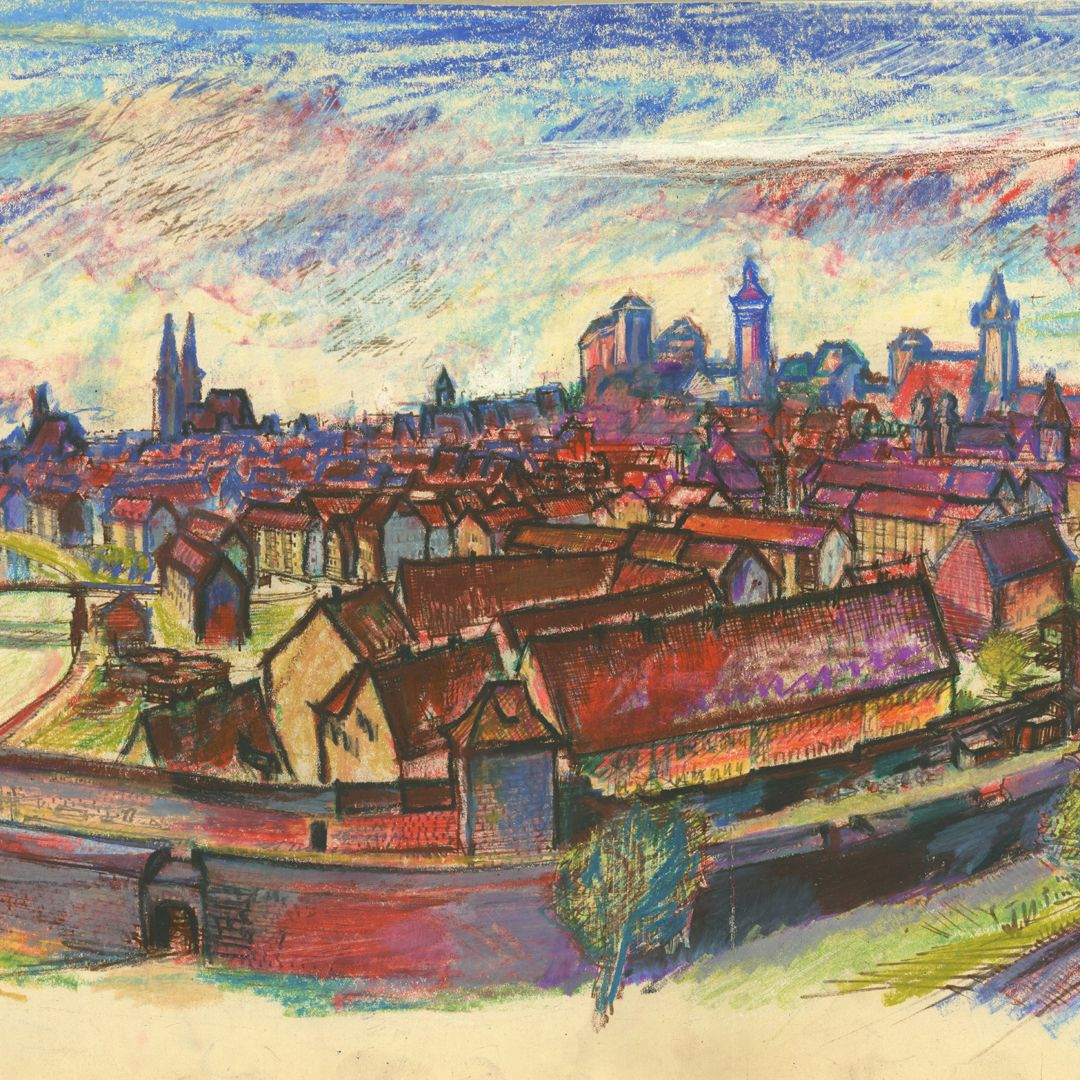 Panoramablick vom Laufertorgraben auf die Nürnberger Altstadt Detailansicht mit Hübnerstor, Stadtsilhouette von der Frauenkirche bis zum Laufer Schlagturm