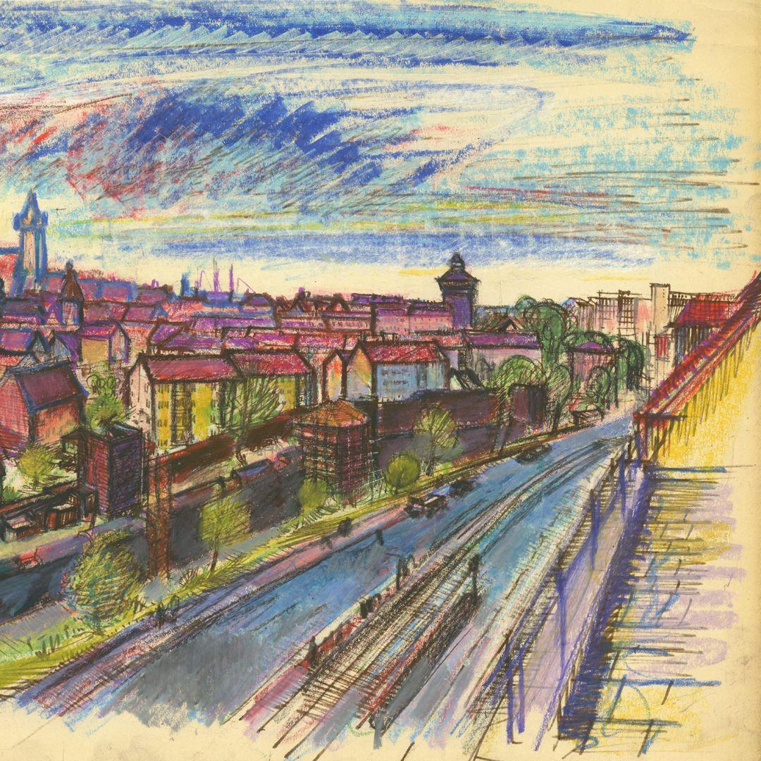 Panoramablick vom Laufertorgraben auf die Nürnberger Altstadt Detailansicht vom Turm Luginsland bis zum Rathenauplatz