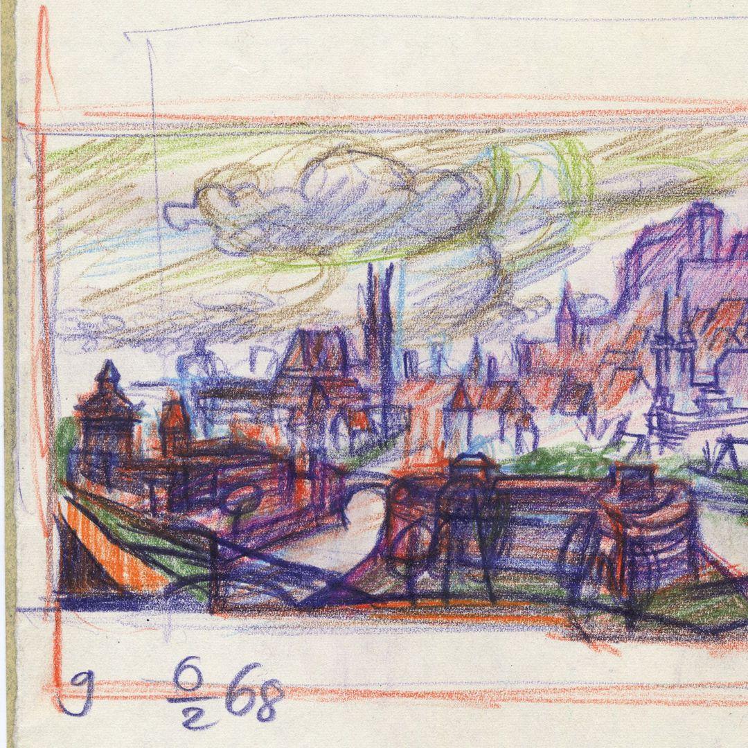 Abstraktionsversuch zum Nürnberger Panorama linke Blatthälfte