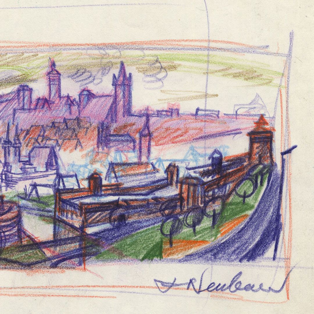 Abstraktionsversuch zum Nürnberger Panorama rechte Blatthälfte