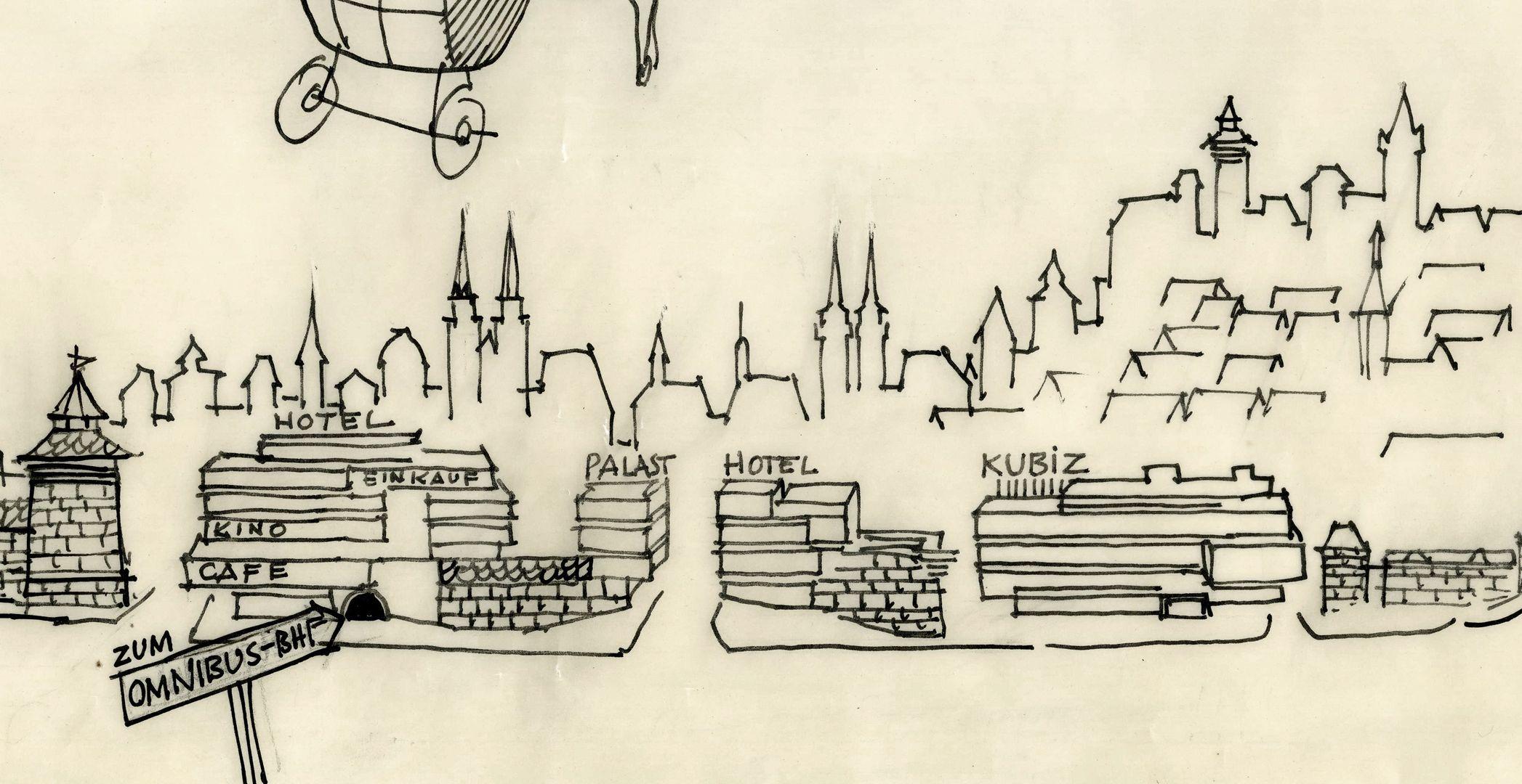 Großartig !!!?.......Alles auf die Stadtmauer !!!! ...... und den Landeplatz vergessen !! Bildausschnitt mit Neubauten auf der Altstadtmauer