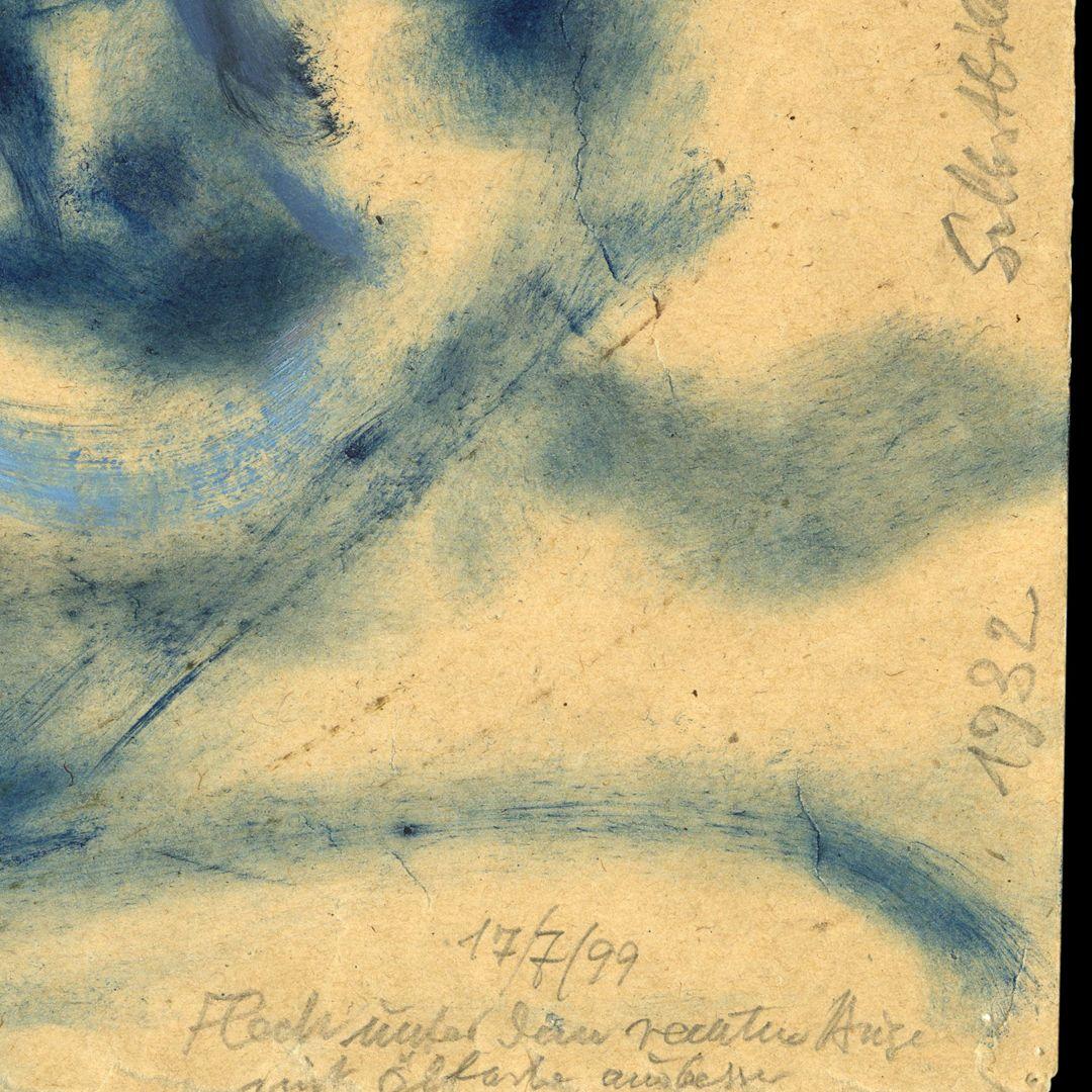 Selbstportrait Notiz am linken unteren Blattrand: Fläche unter dem rechten Auge mit Ölfarbe ausgebessert 17/7/99