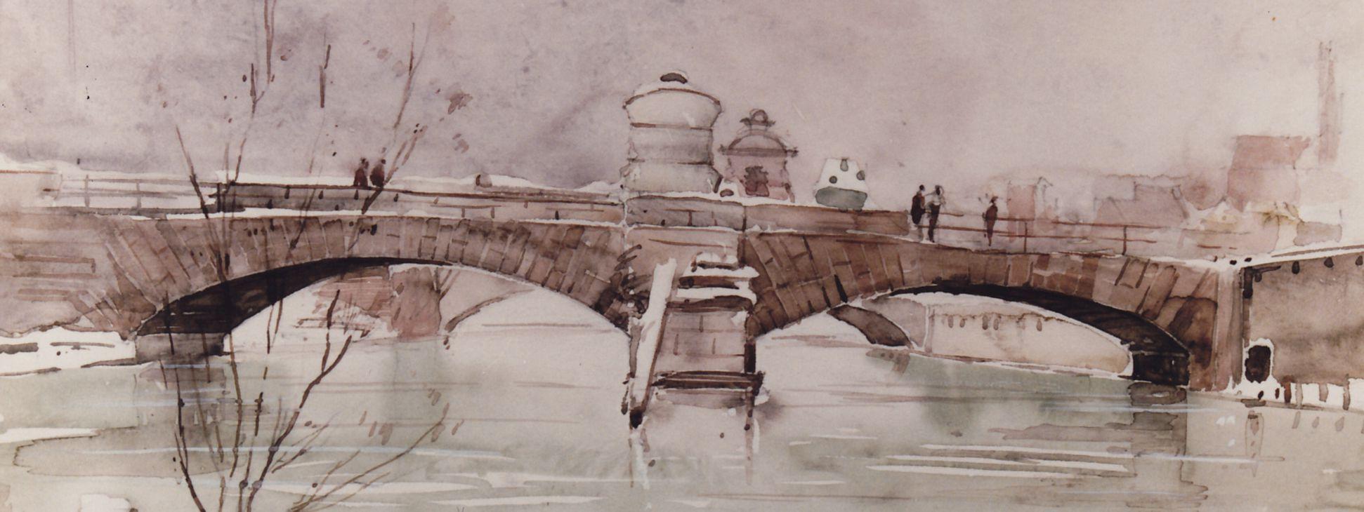 Museumsbrücke vom Heilig-Geist-Spital aus gesehen mittleres Bildfeld