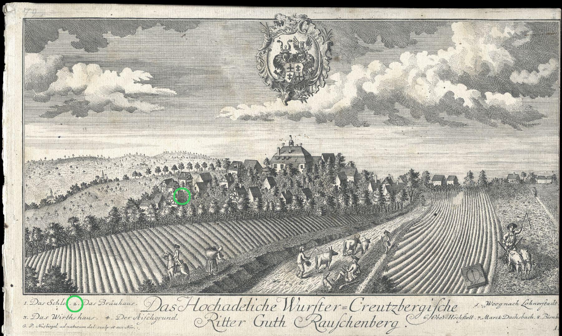 """Das Hochadeliche Wurster=Creutzbergische Ritter Guth Rauschenberg """"Das Bräuhaus"""""""