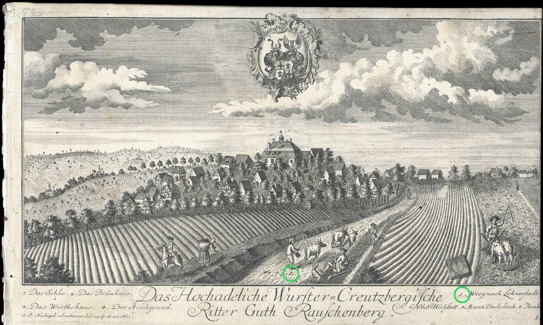 """Das Hochadeliche Wurster=Creutzbergische Ritter Guth Rauschenberg """"Weeg nach Lohnerstadt"""""""