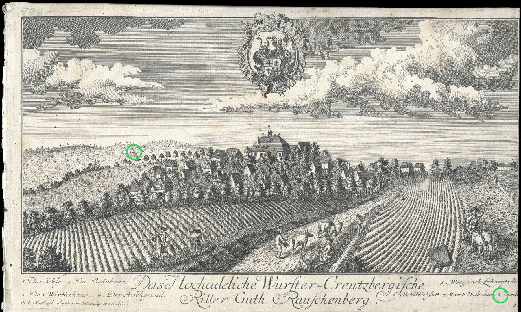 """Das Hochadeliche Wurster=Creutzbergische Ritter Guth Rauschenberg """"Birnbaum"""""""