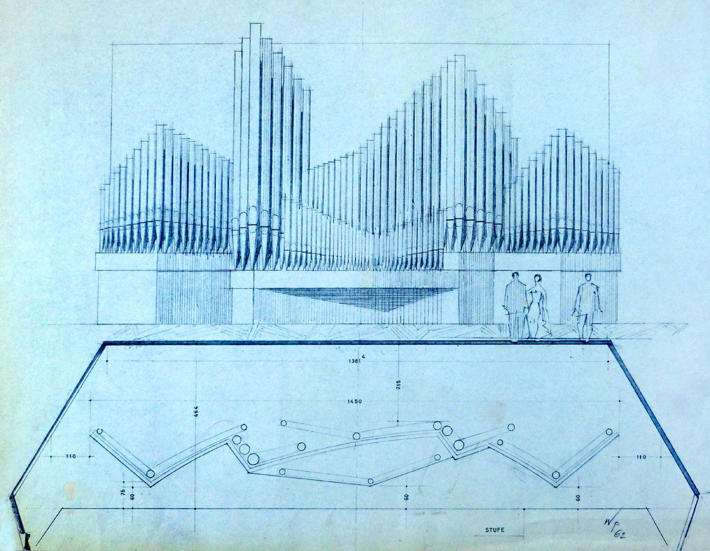 Orgelprospekt in der Meistersingerhalle Nürnberg Orgelprospekt und Grundriss