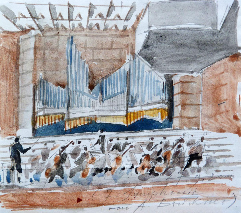 Orgelprospekt in der Meistersingerhalle Nürnberg Skizze während eines Konzertbesuches