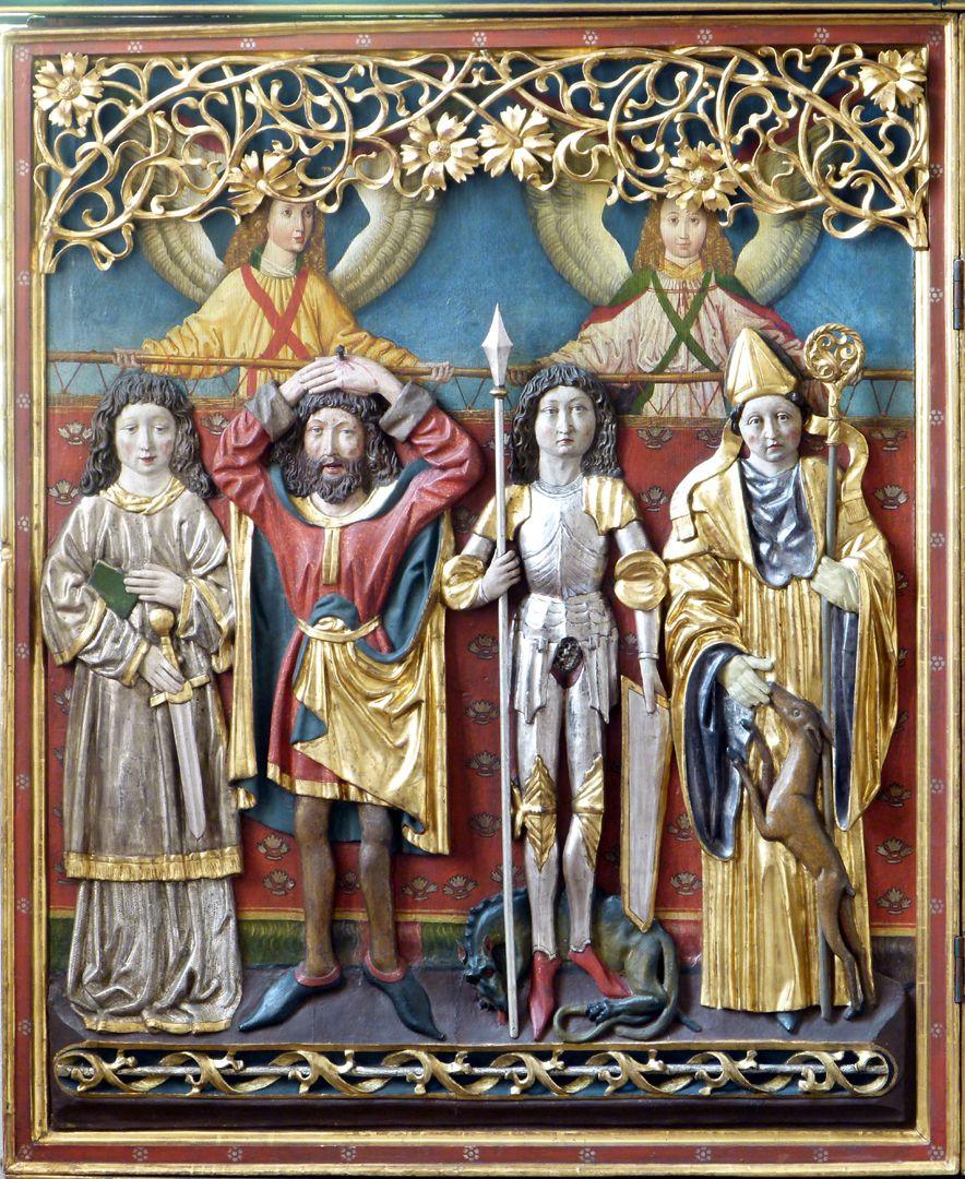 Osternoher Altar linker Flügel, von l. nach r.: Hll. Cyriakus, Pantaleon, Georg und Ägidius