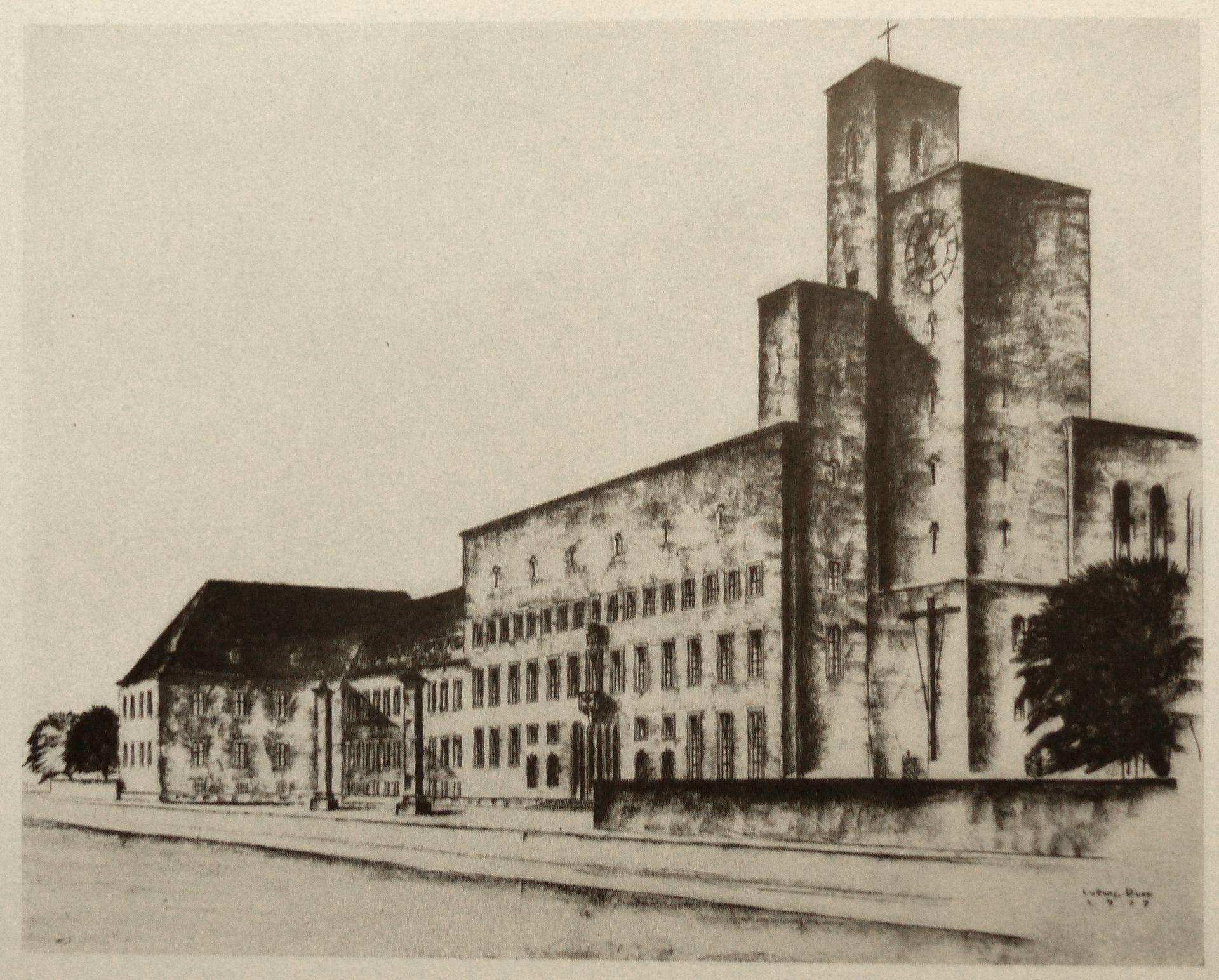 Bistumshaus (Bamberg) Zeichnung von 1927 / Abb. aus Nürnberger Kunst der Gegenwart, Rosenmüller, 1928
