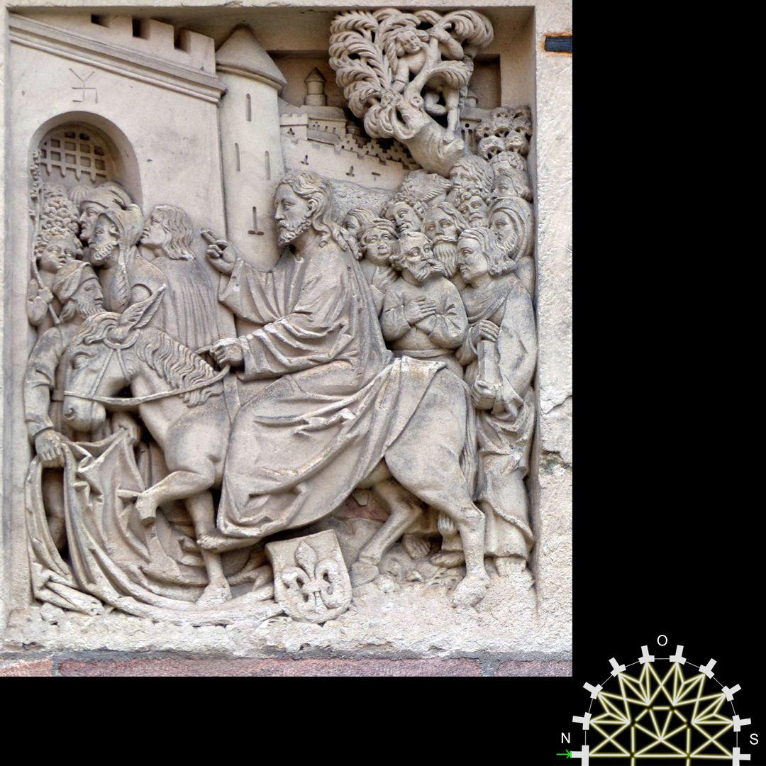 Passionsreliefs Einzug in Jerusalem, Kopie 19. Jahrhundert - Wappen der Flexdorfer.