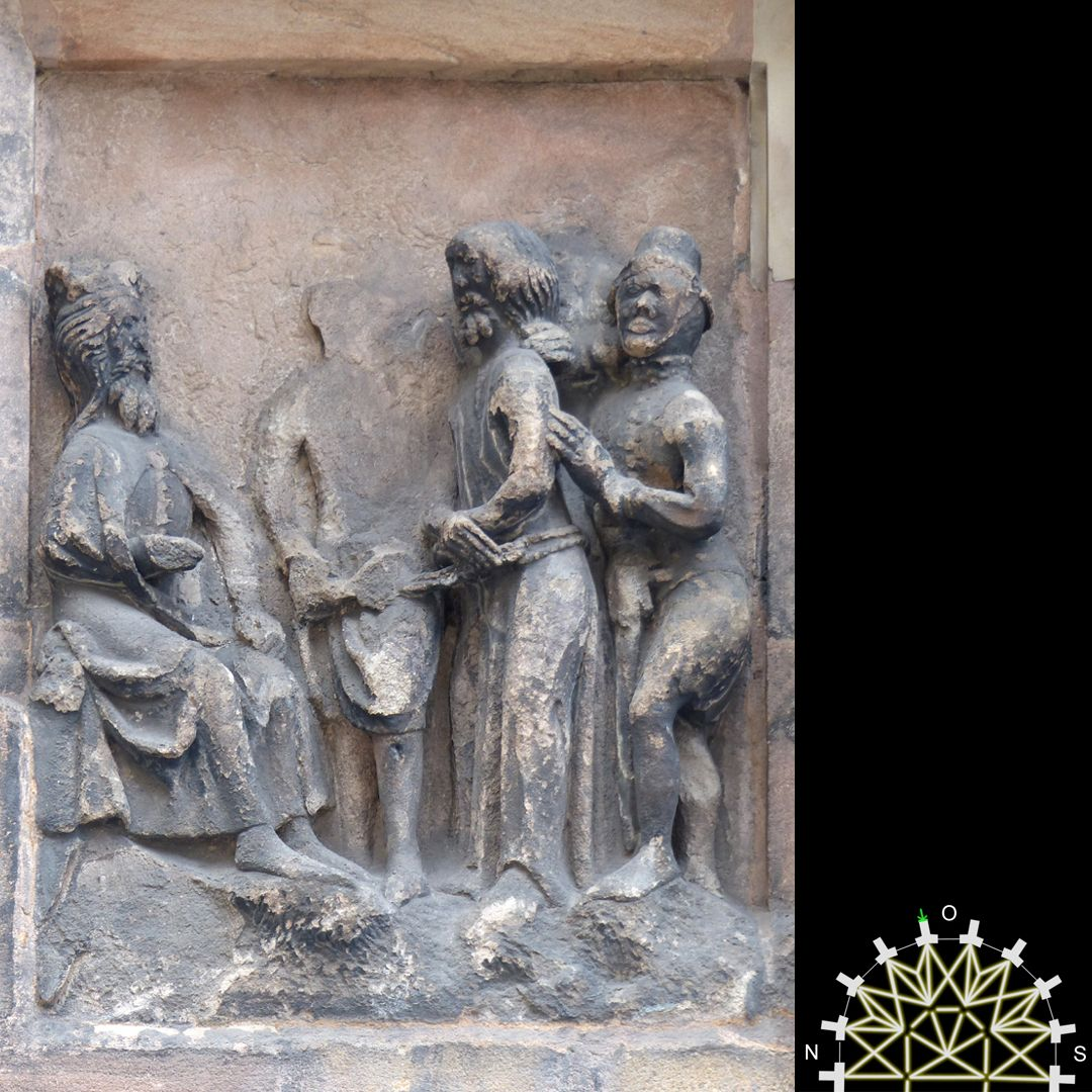 Passionsreliefs Jesus vor Pilatus – ehemals mit Wappen der Pfinzing