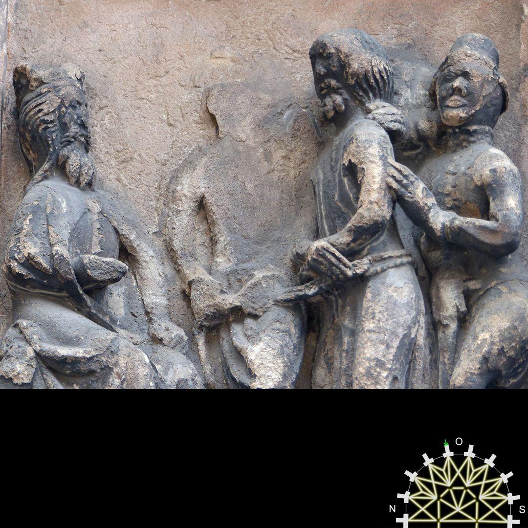 Passionsreliefs Jesus vor Pilatus, Detail